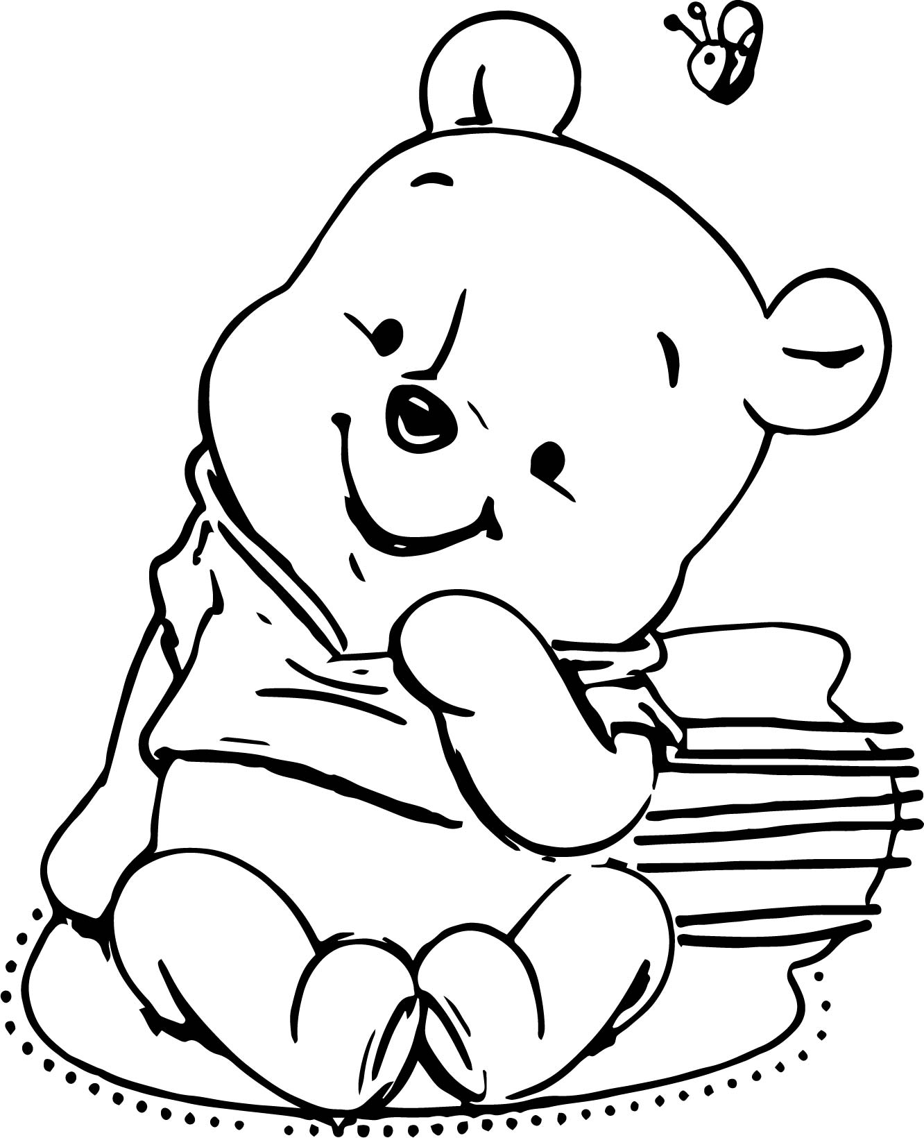 Classic winnie the pooh baby shower invitations templates for Classic pooh coloring pages