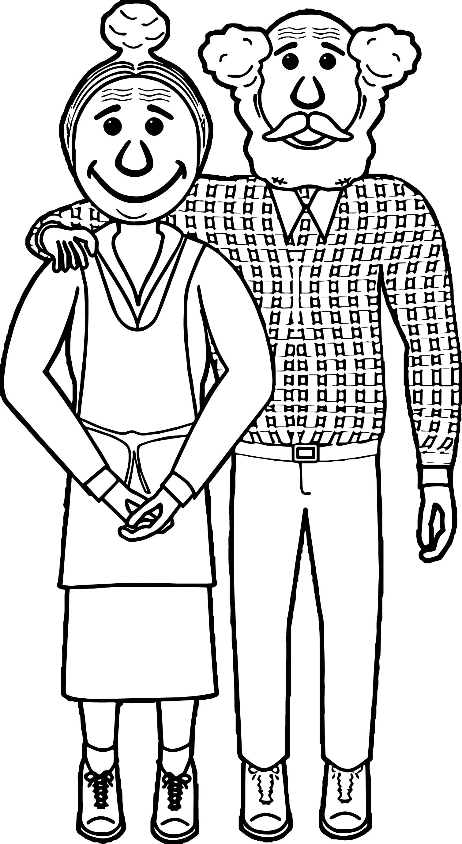 Couple Old Coloring Page