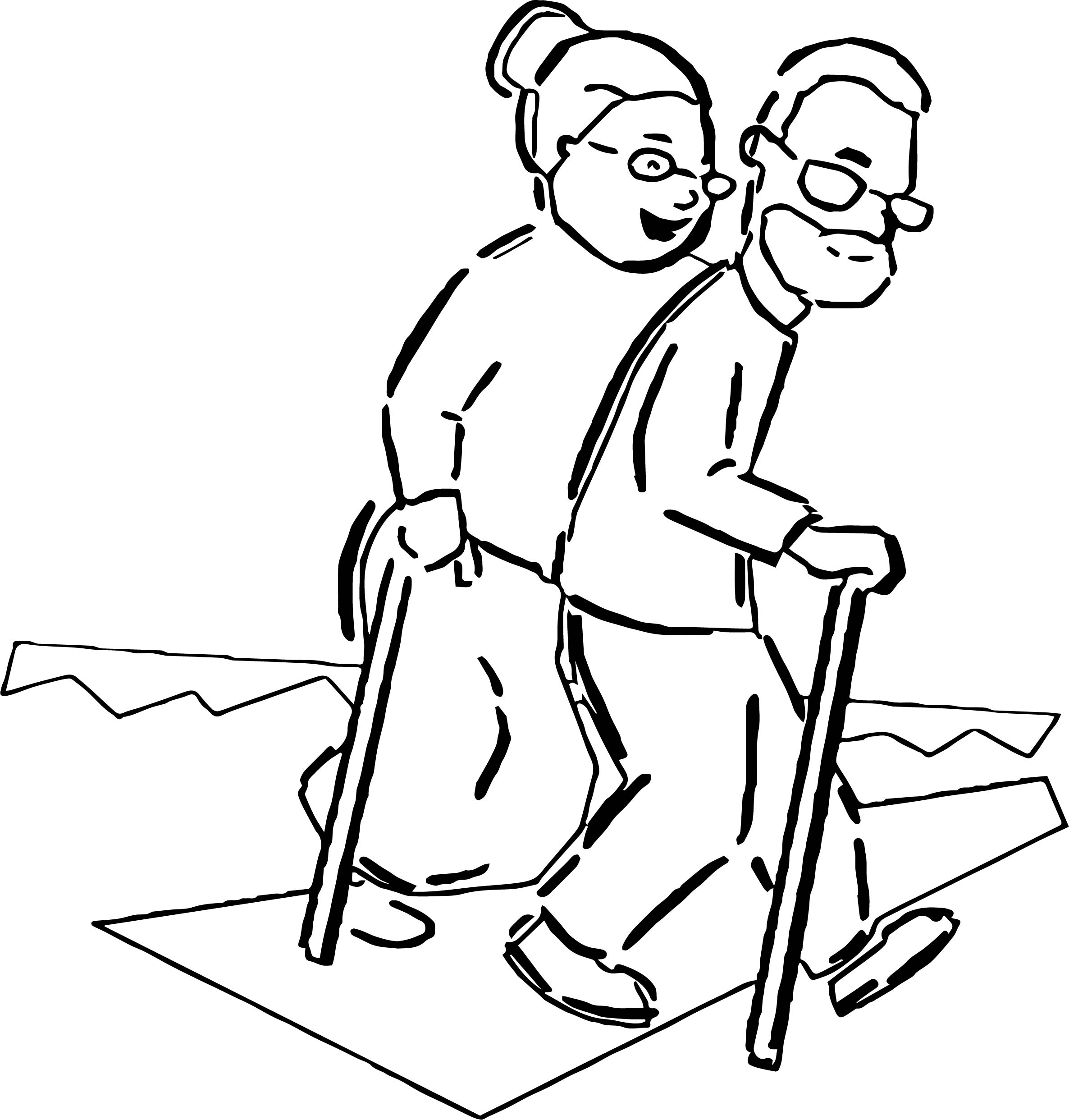 Couple Walking With Canes Coloring Page