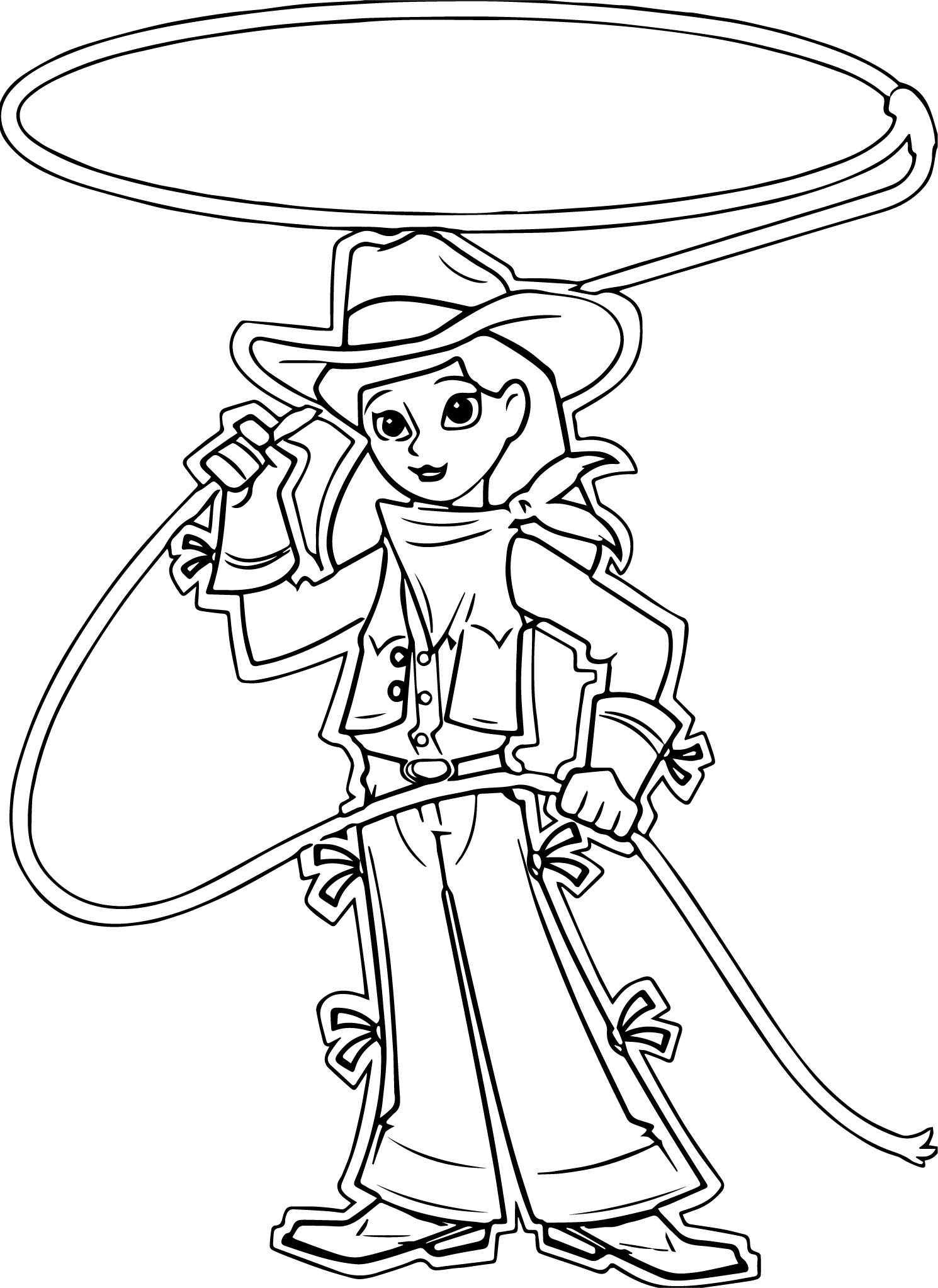 Cowboy Cow Girl Turn Rope Coloring Page