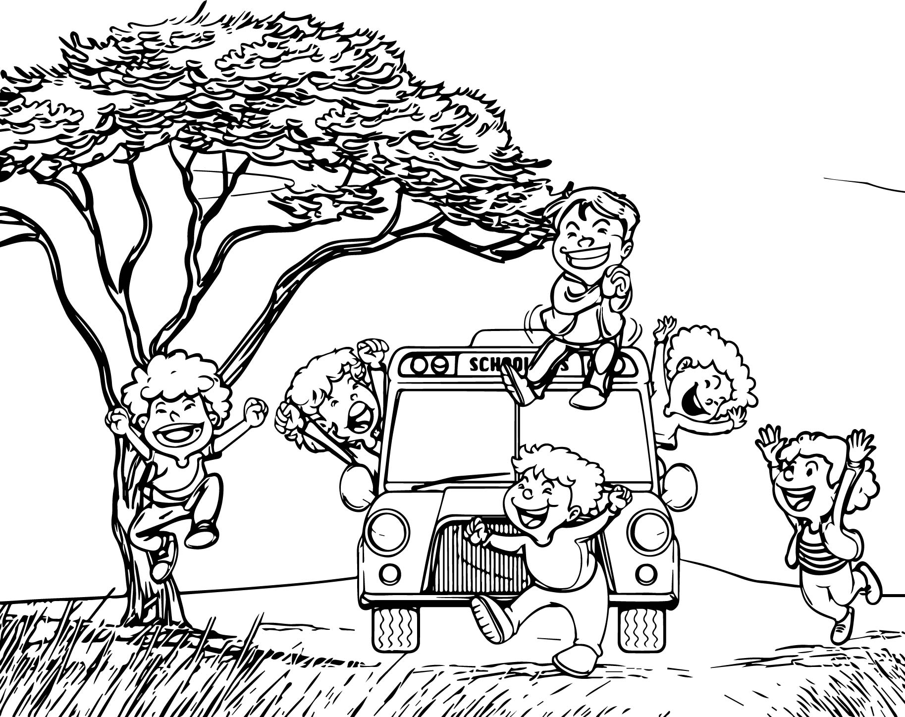 Crazy Child School Bus Coloring Page