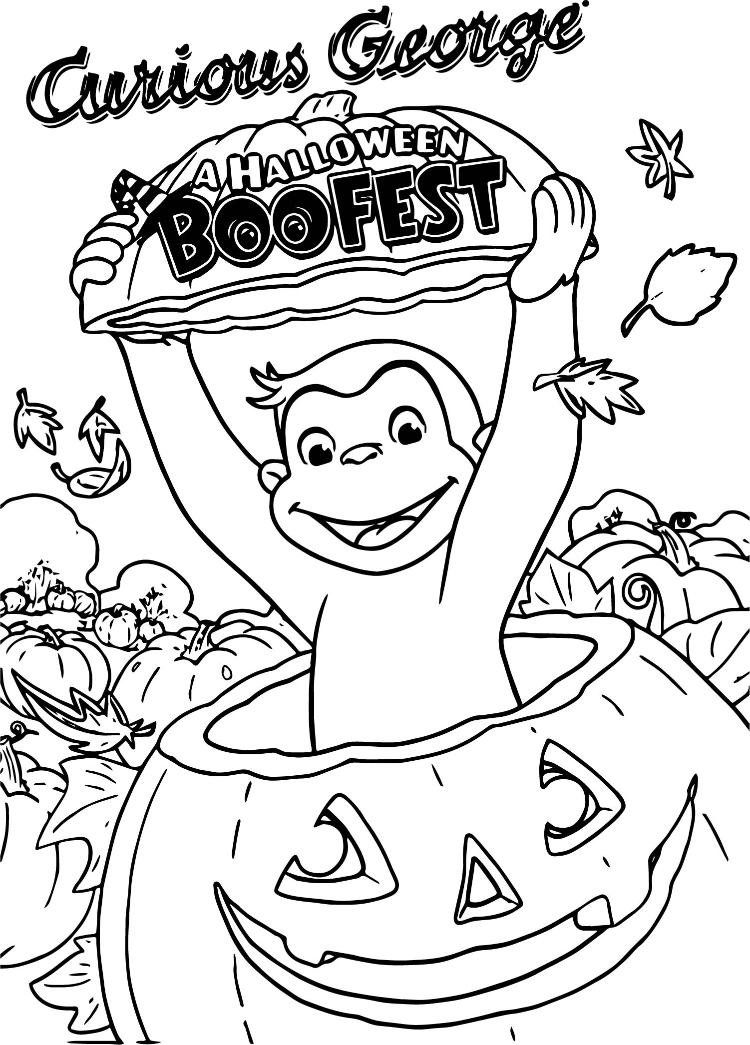 Curious George A Halloween Boofest Coloring Page | Wecoloringpage