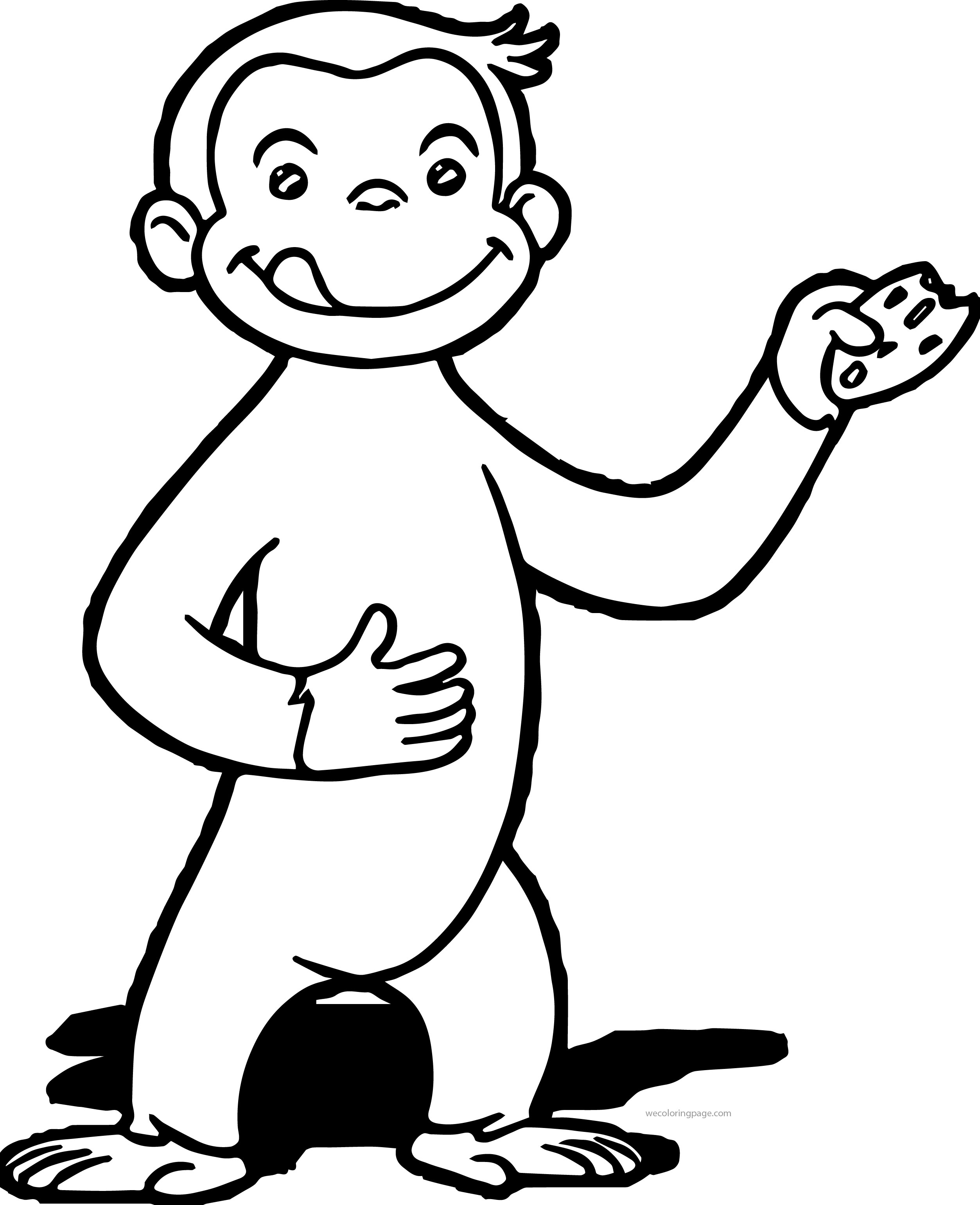 Curious George Eating Cookie Coloring Page
