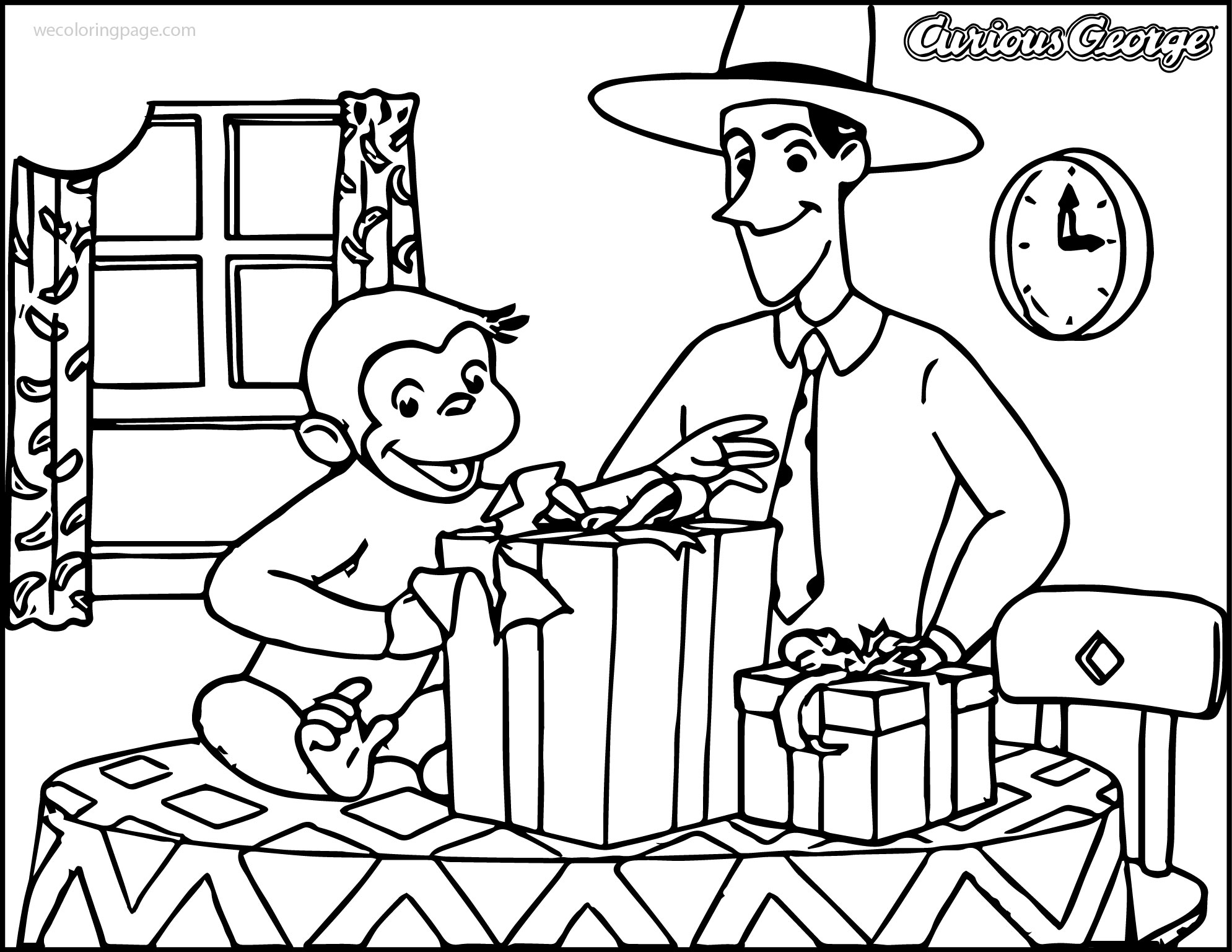Curious George In Home Opened Suprise Box Coloring Page