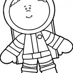 Cute Astronaut Boy Coloring Page