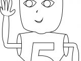 Cute Children Five Number Coloring Page