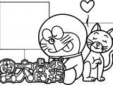 Cute Doraemon And Cat Coloring Page