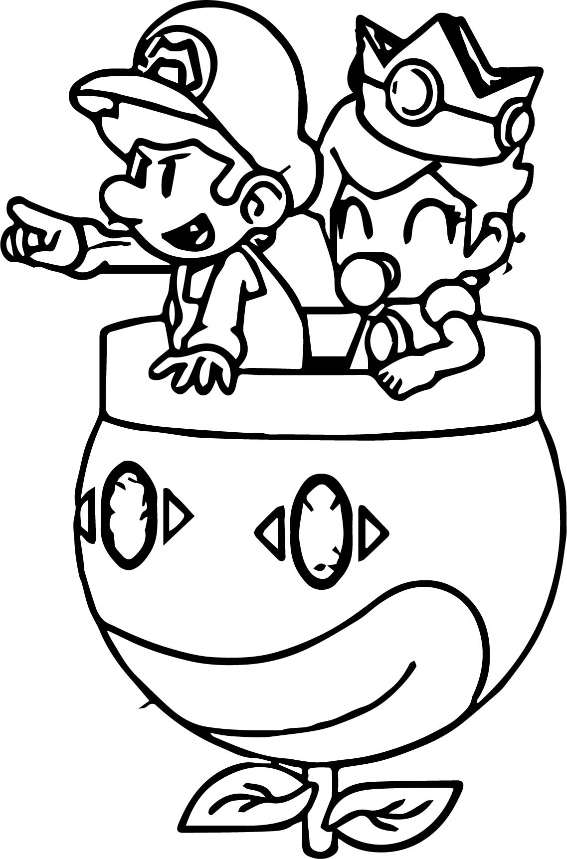 Daisy and mario go coloring page for Daisy coloring page