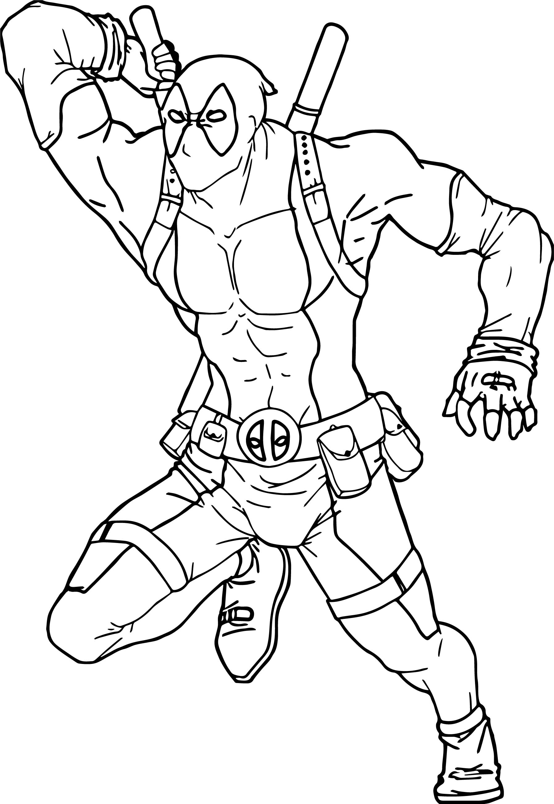 Deadpool attack coloring page for Deadpool printable coloring pages