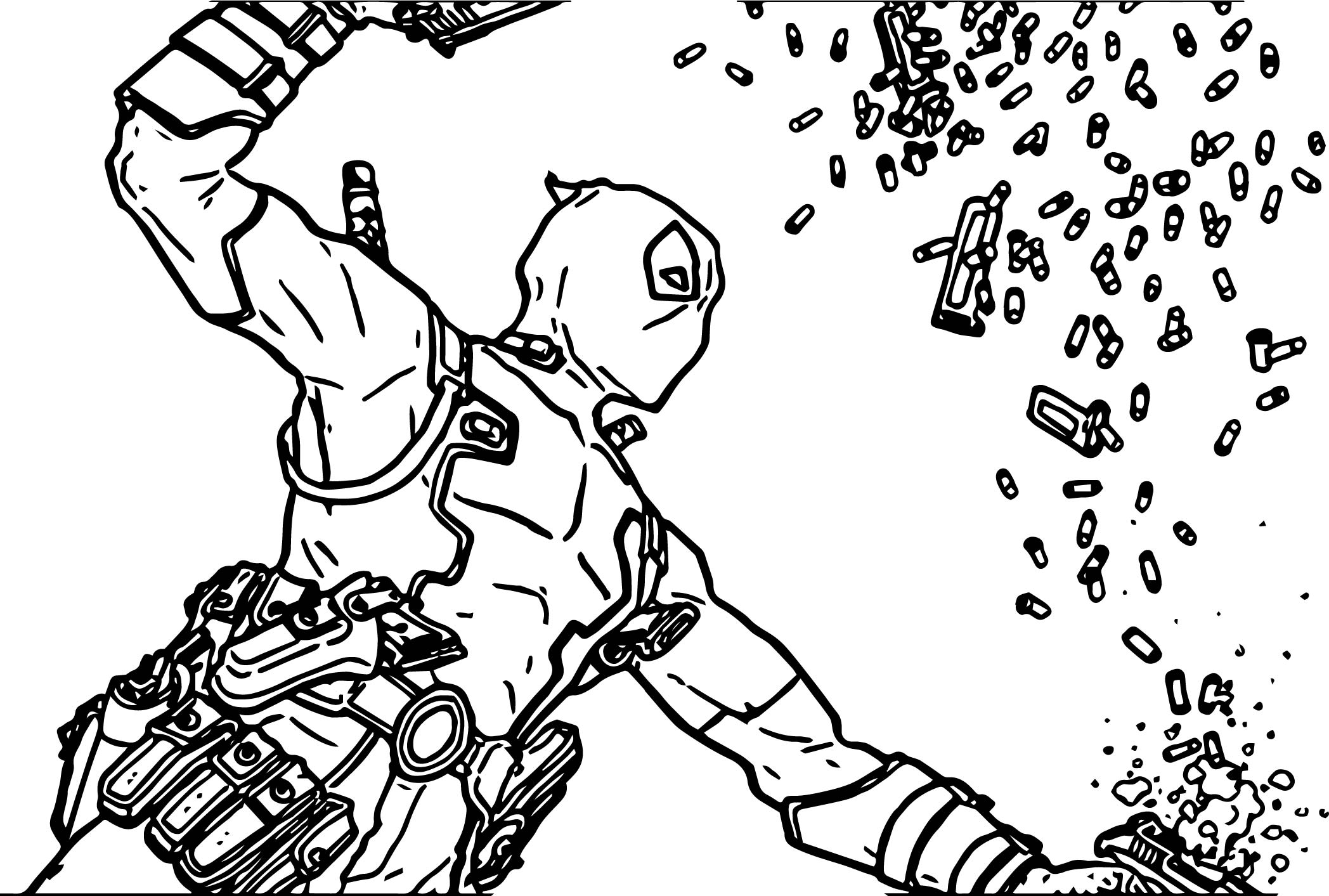 Deadpool Coloring Pages: Deadpool Bullet Coloring Page