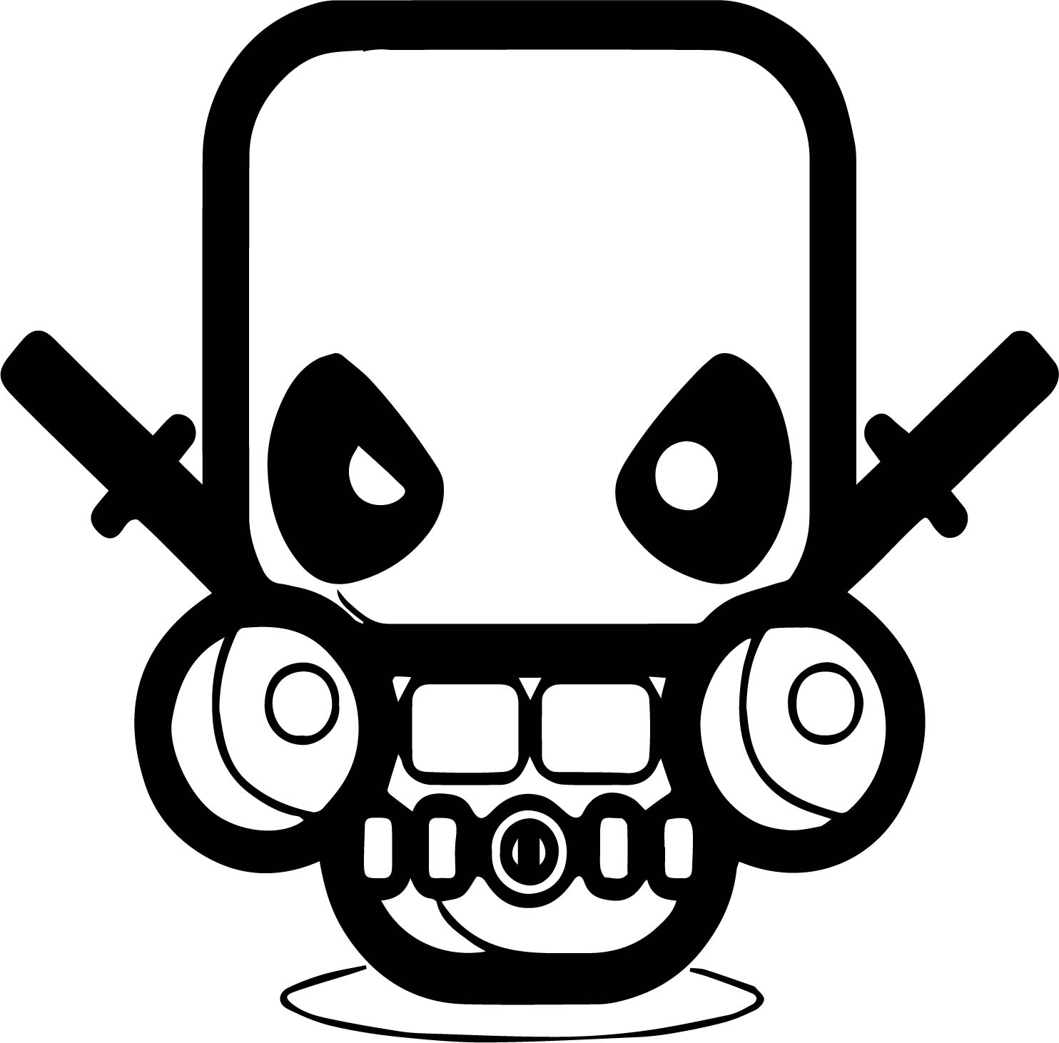 Deadpool Chibi Zombie Coloring Page
