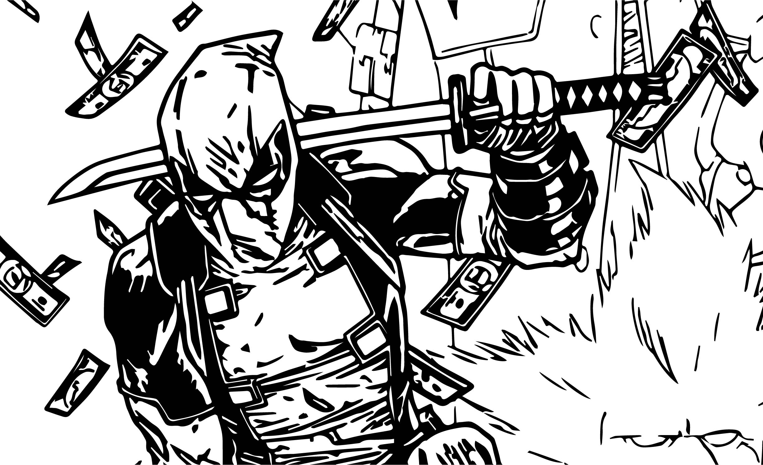 Deadpool Money Coloring Page