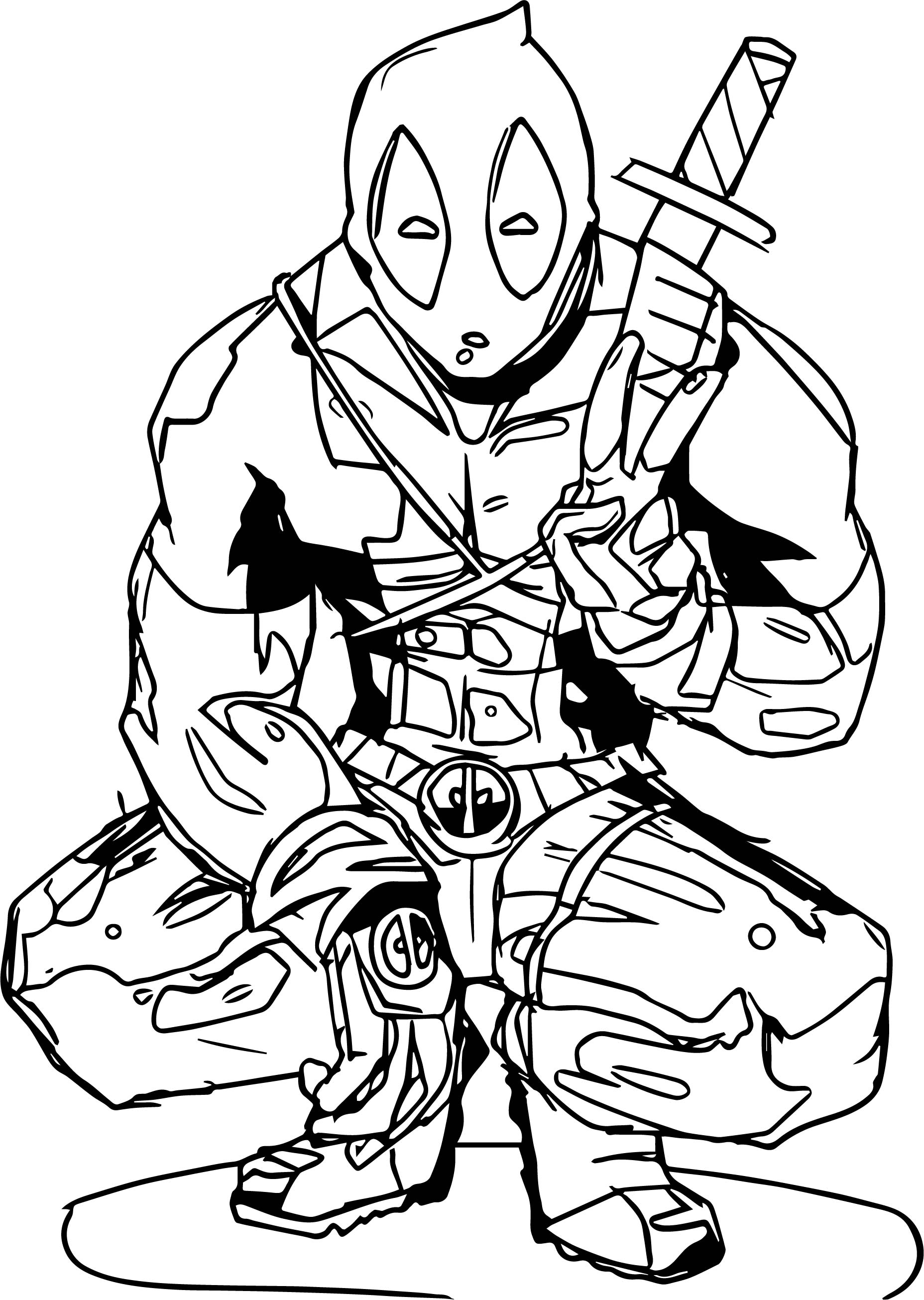 Deadpool Peace Coloring Page