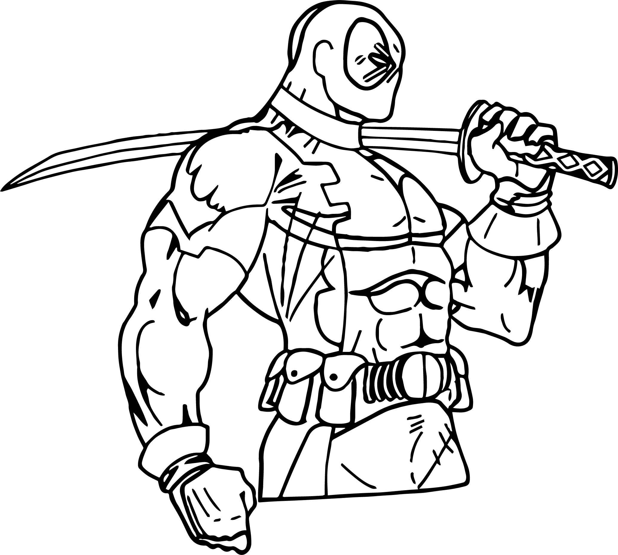 Deadpool Coloring Pages: Deadpool Side View Coloring Page