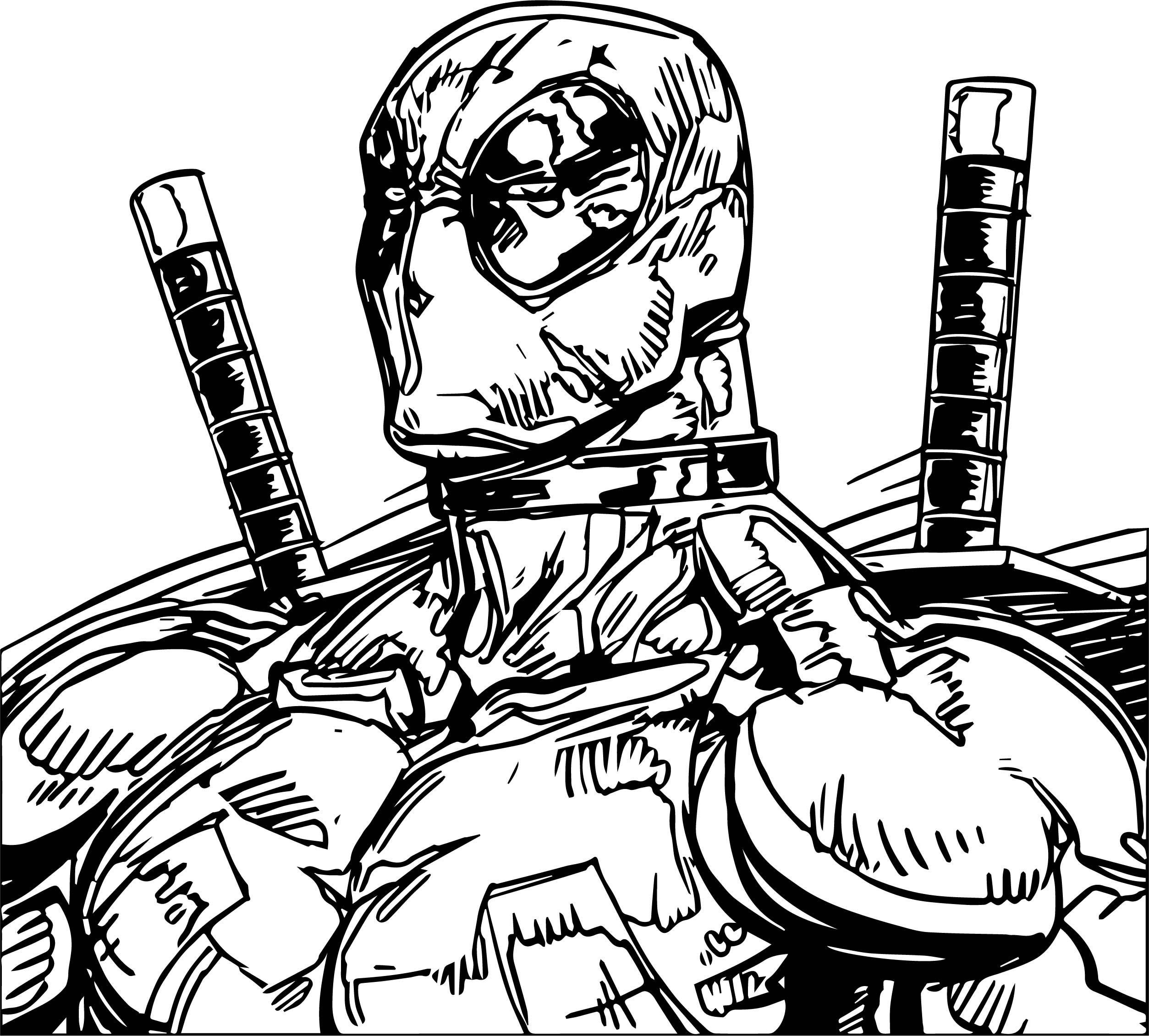 Deadpool Sketch Drawing Coloring Page