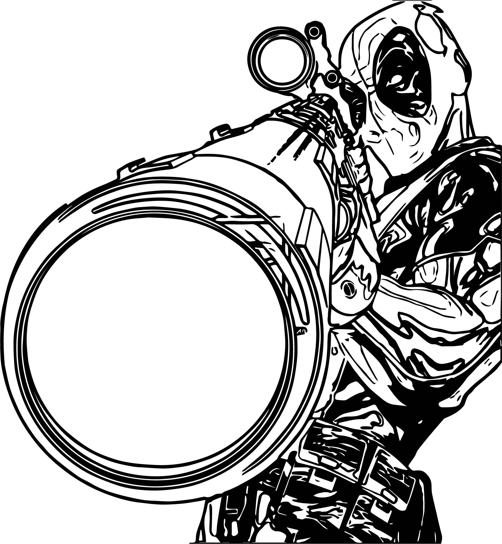 Deadpool Coloring Pages: Deadpool Sniper Coloring Page