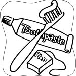 Dental Floss Brush Toothpaste Coloring Page