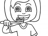Dental Girl Brushed Tooth Coloring Page