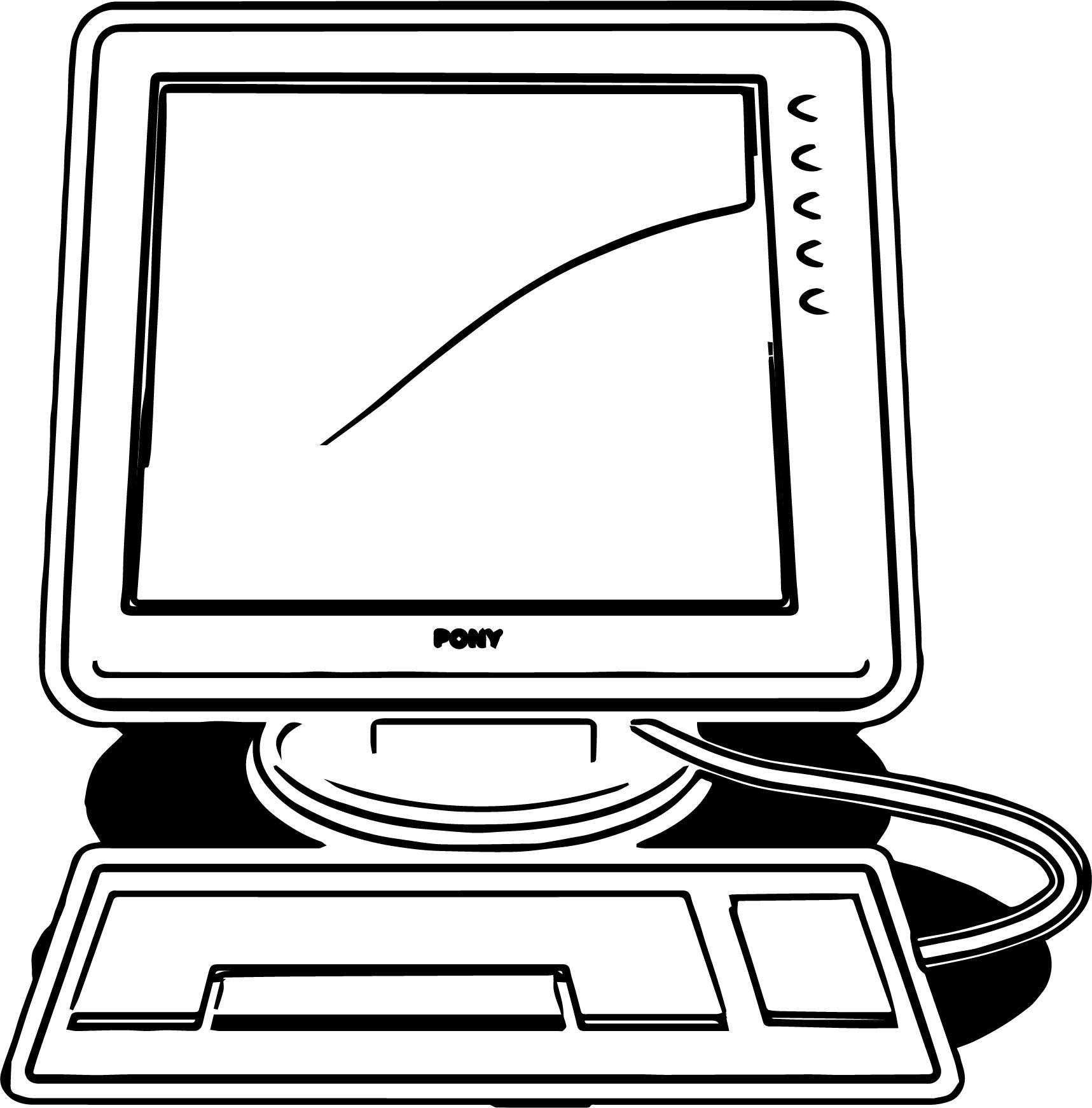 Desktop Old Computer Coloring Page