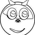 Devil Horns Smiley Emology Emoticon Coloring Page