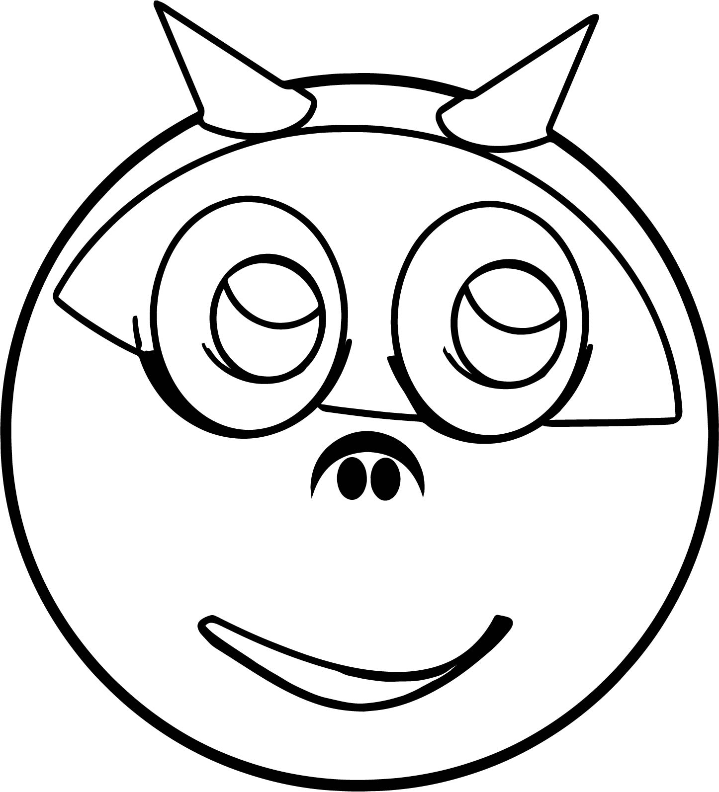 Devil horns smiley emology emoticon coloring page for Devil coloring pages