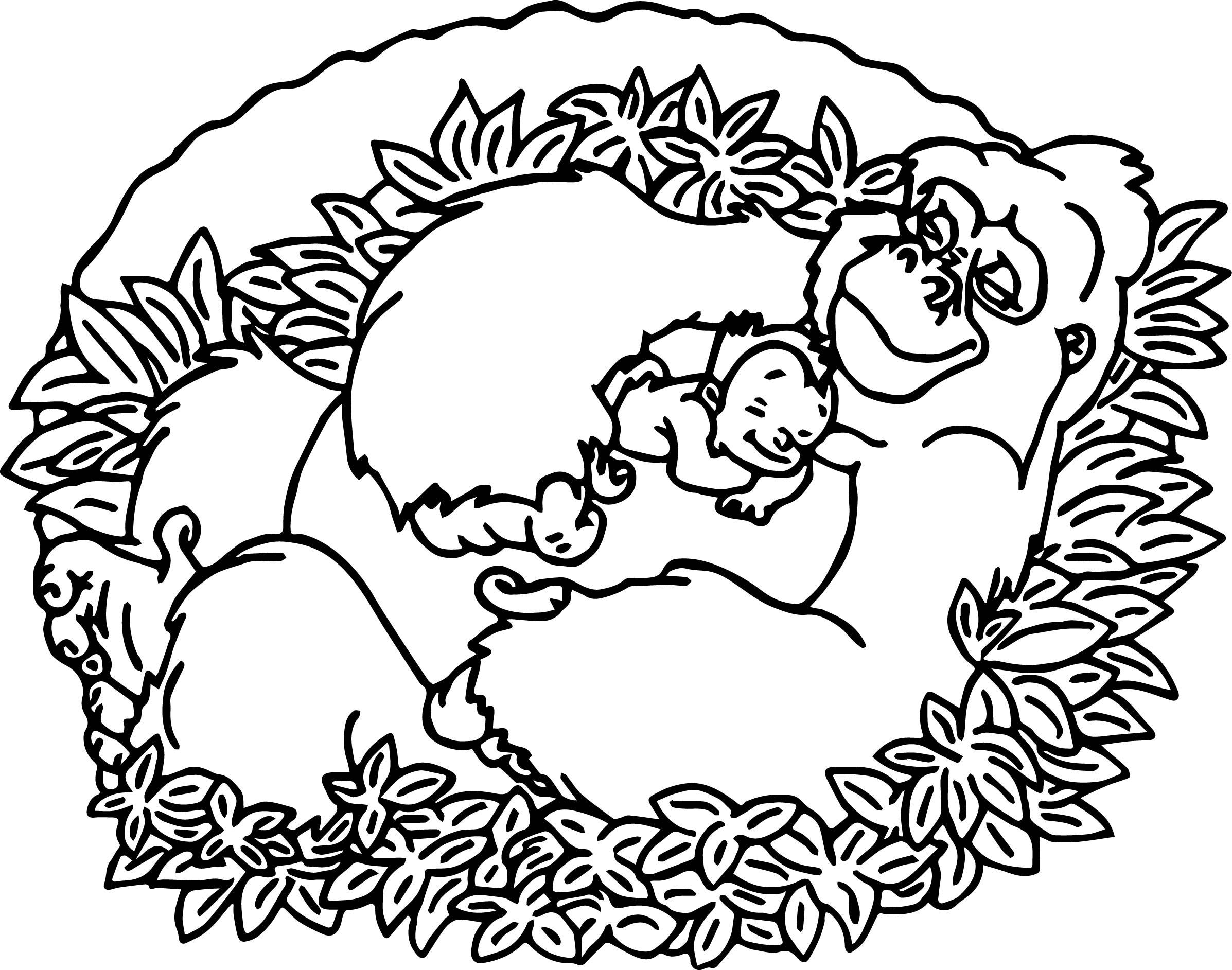Disney Baby Tarzan Sleep Coloring Page