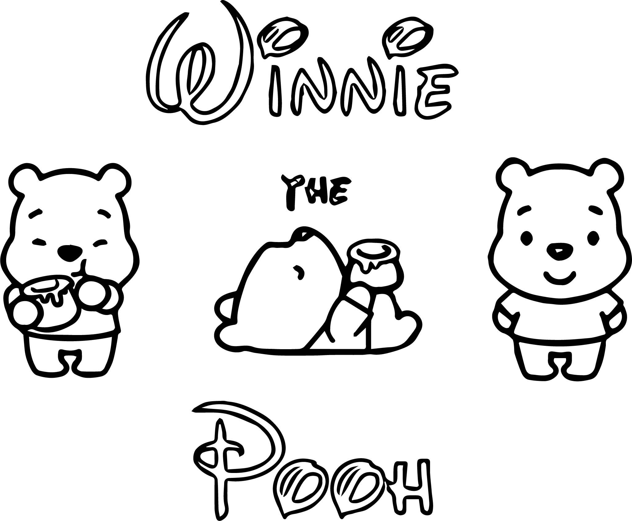 Disney Cuties Pooh Coloring Page Wecoloringpage