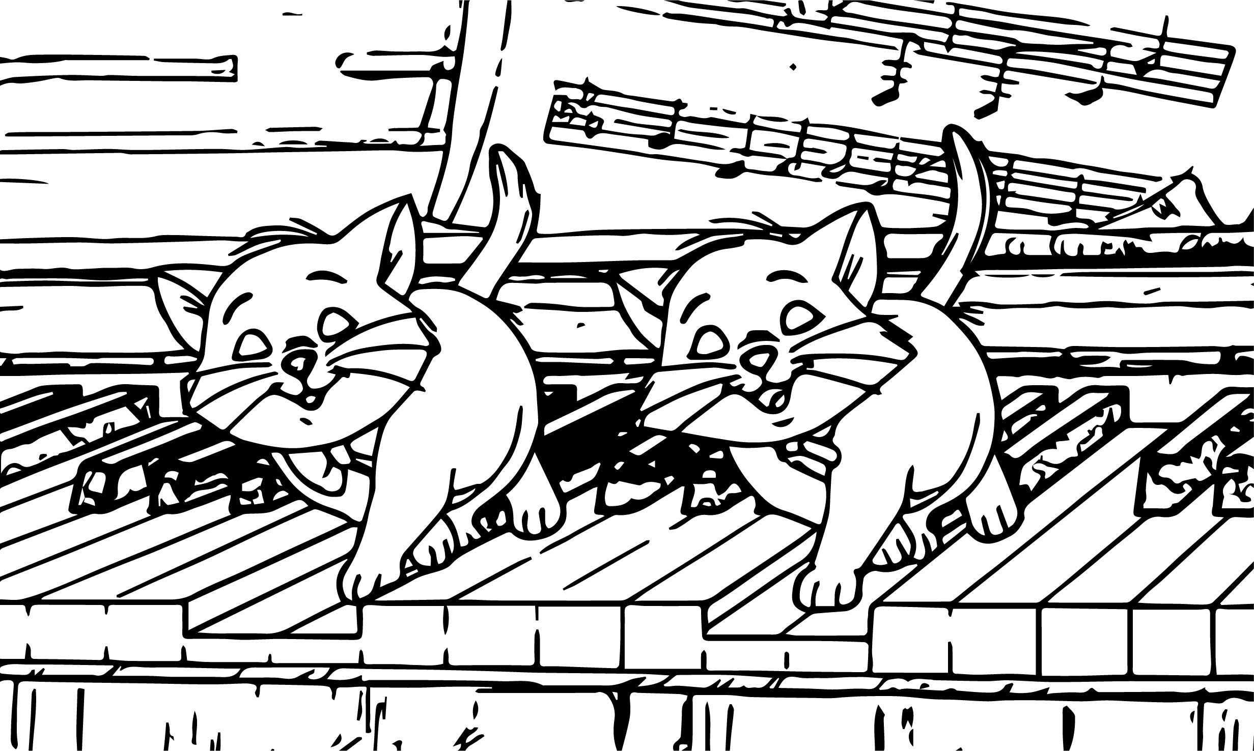 Disney The Aristocats Playing Piano Coloring Page ...