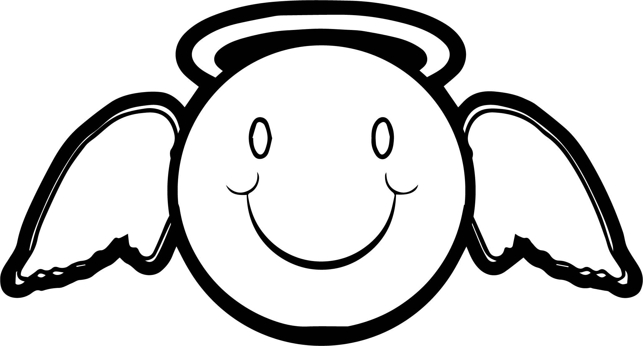Emology Smiley Emoticon Angel Man Coloring Page