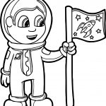 First Astronaut Kid Coloring Page