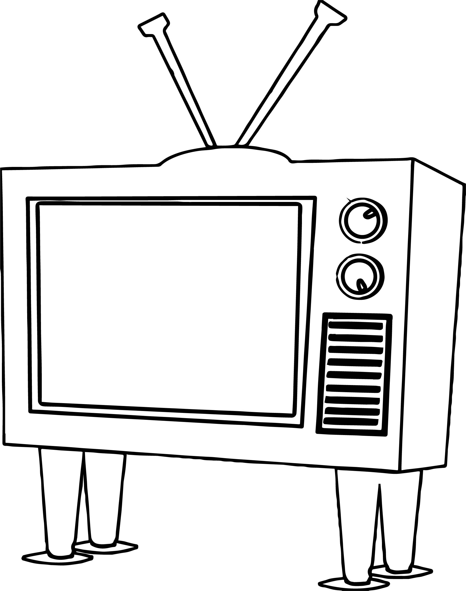 Funky Old Tv Coloring Page Wecoloringpage Television Coloring Page