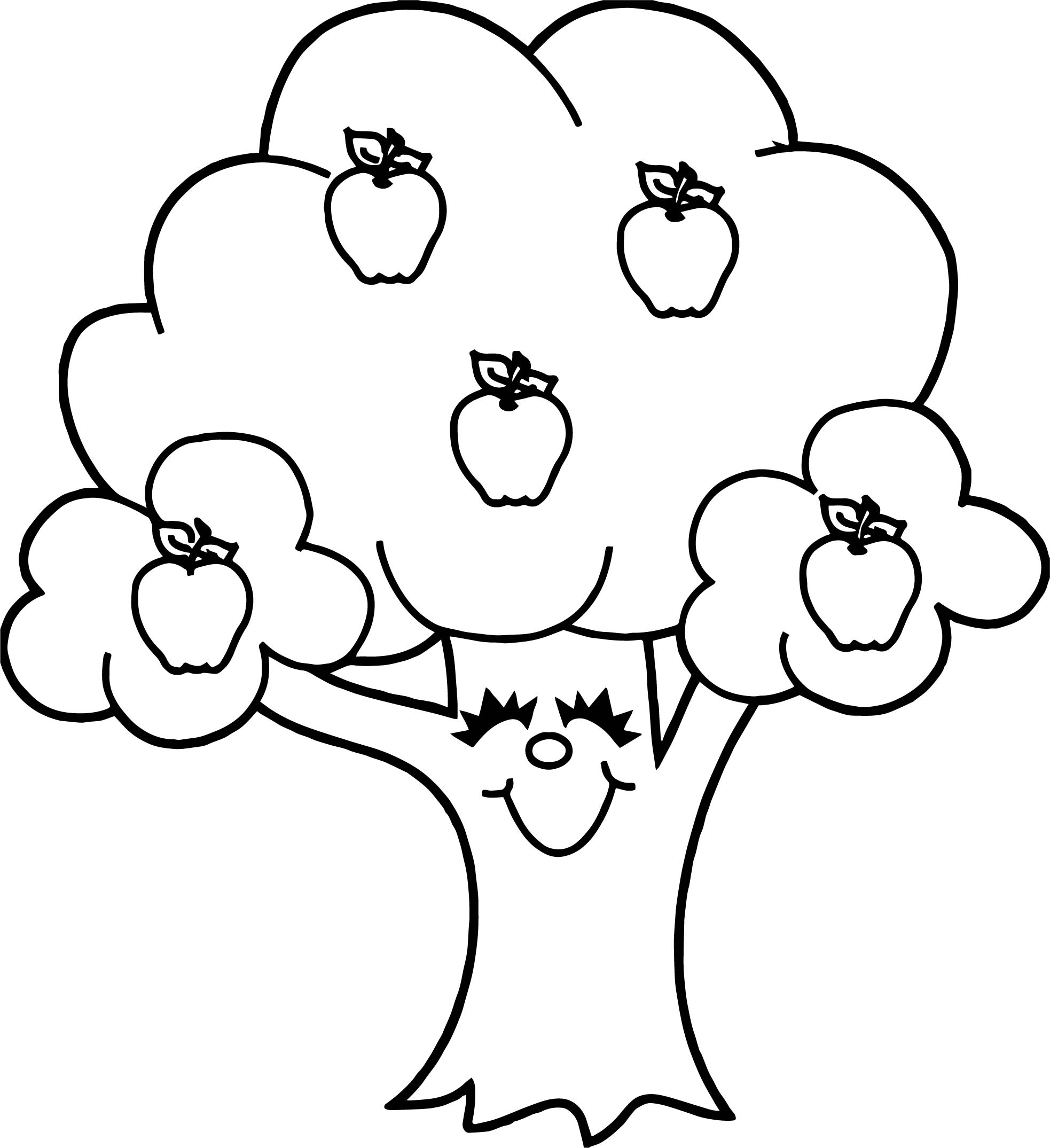 Funny apple tree coloring page for Apple coloring pages