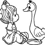 Funny Girl Duck Cute Baby Coloring Page