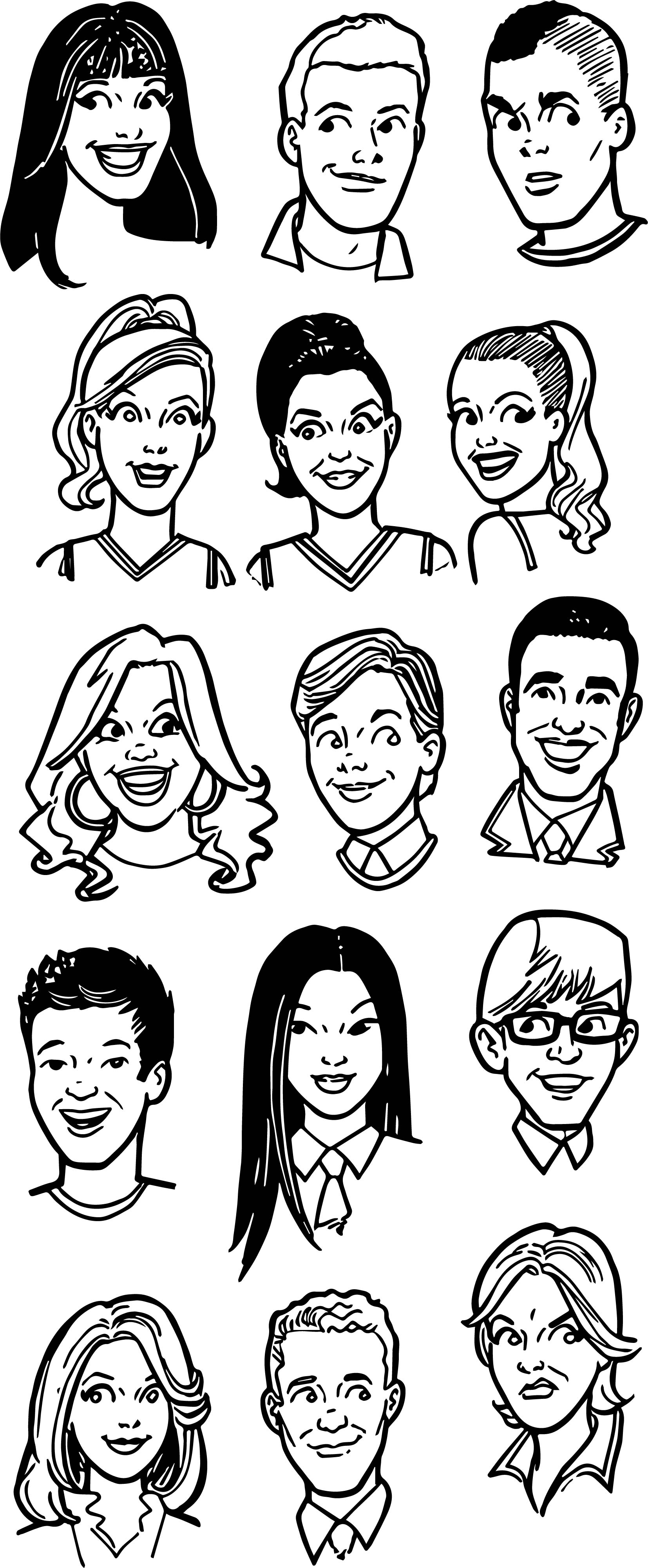Glee Archie Faces Coloring Page