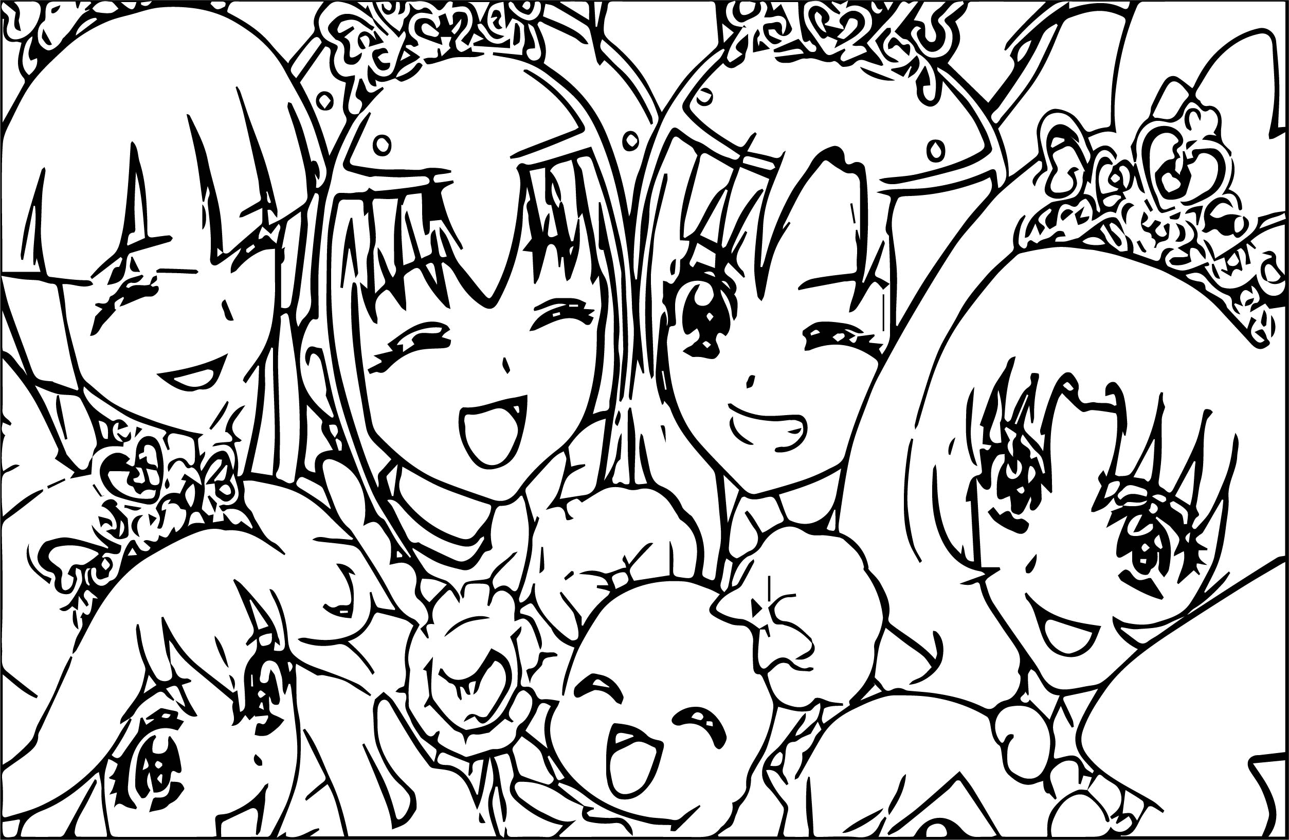 glitter force happy girls coloring page wecoloringpage
