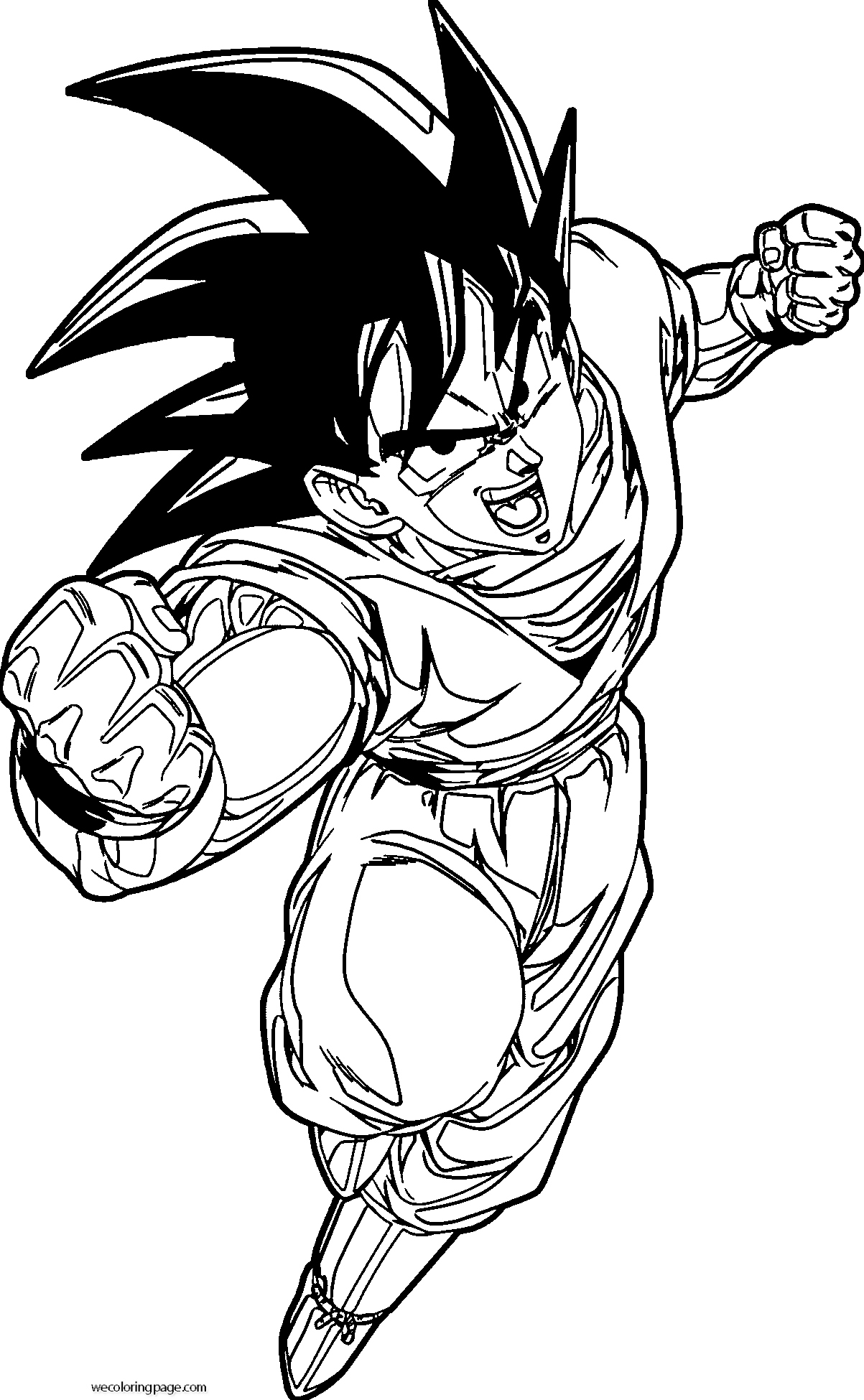 Goku Punch Coloring Page