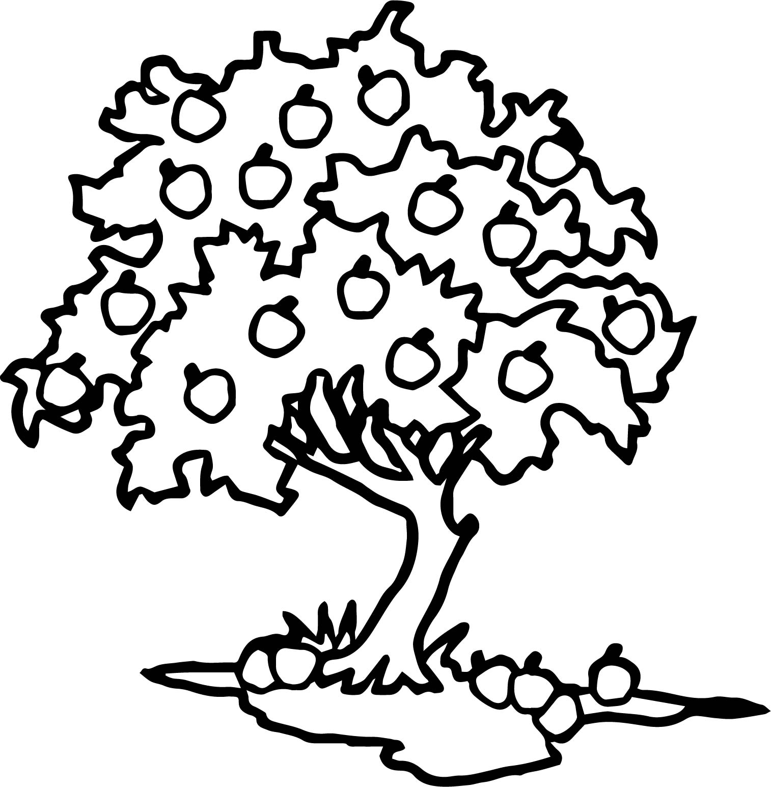 Happy Apple Tree Coloring Page
