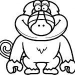 Illustration Cartoon Baboon Coloring Page