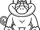 Illustration Cartoon Baboon Coloring Page