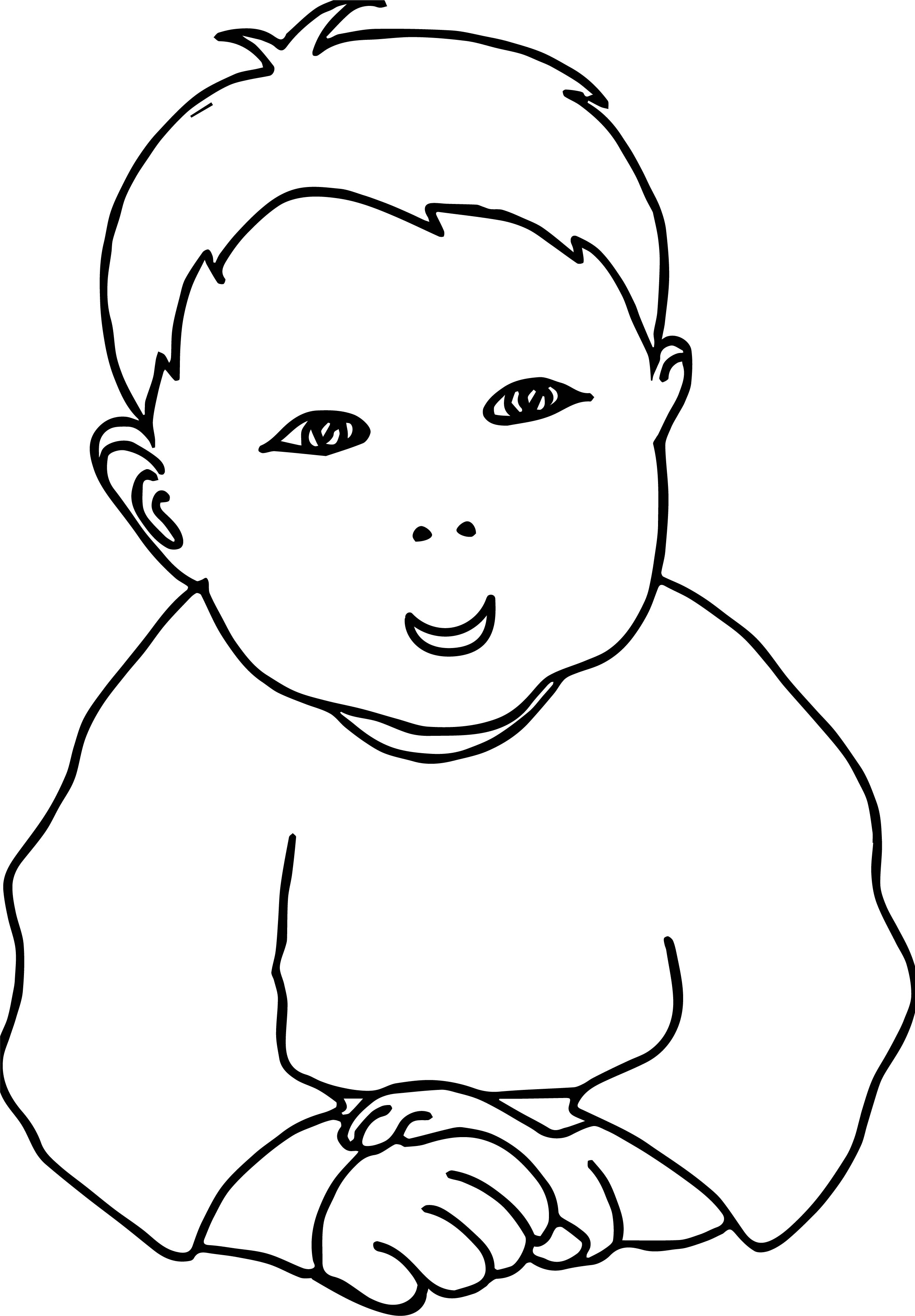 Infant Baby Boy With Jammies Coloring Page