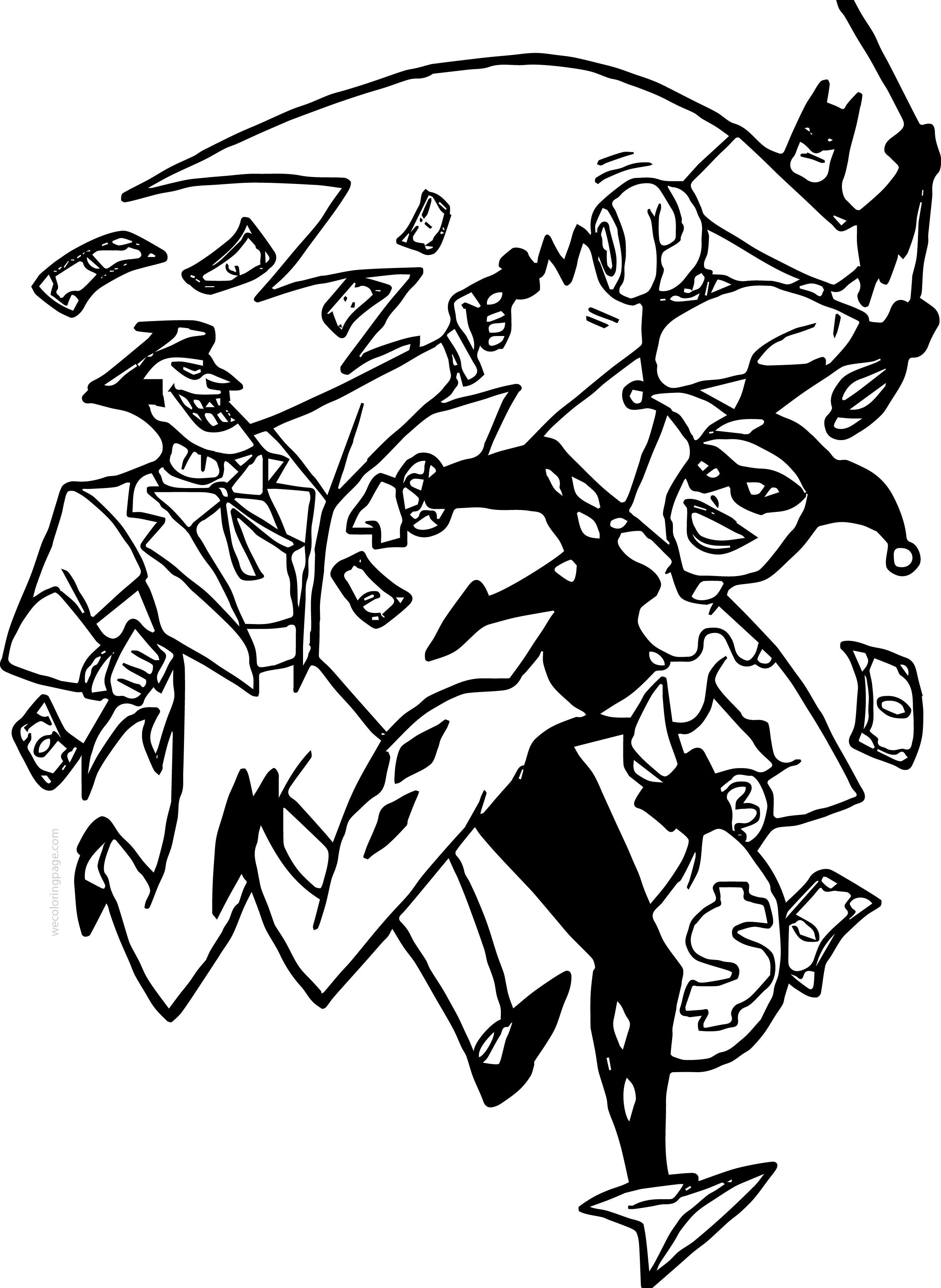 Joker Batman Cartoon Characters Coloring Page