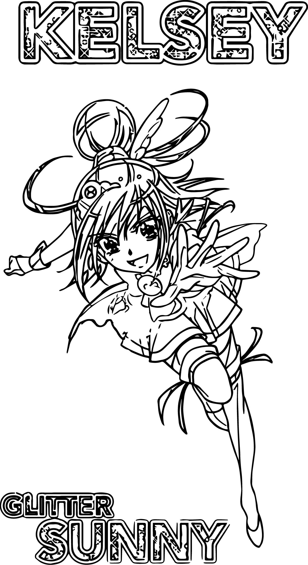 Kelsey Glitter Force Sunny Coloring Page