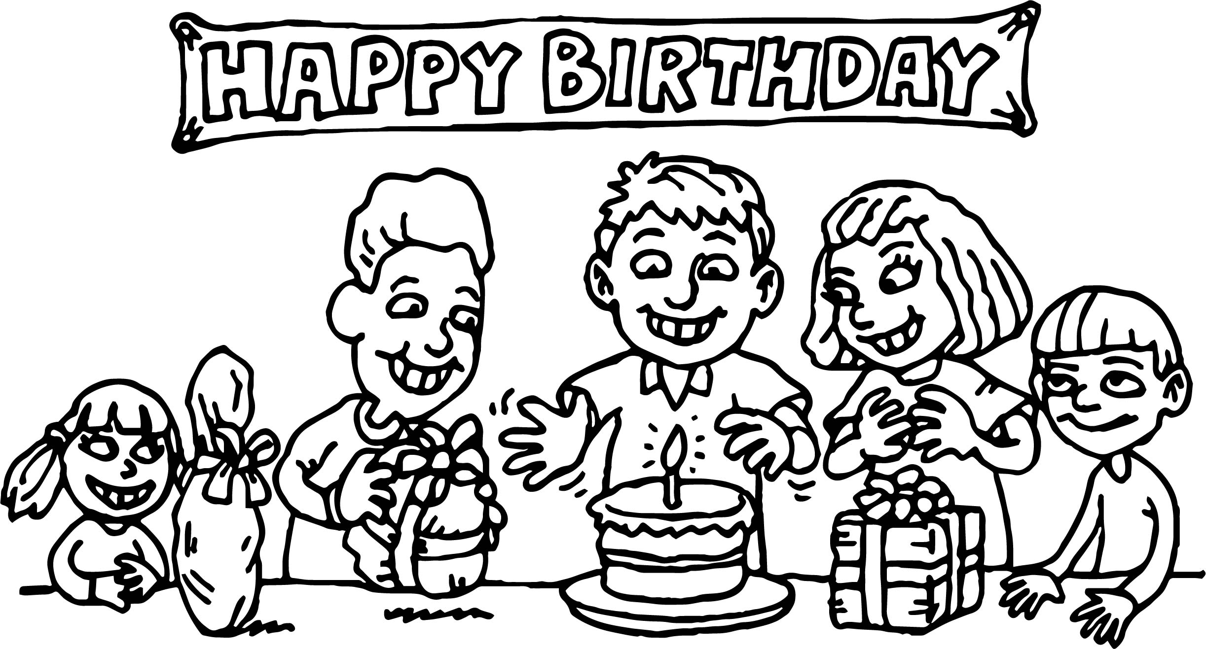 Kids Birthday Party Coloring Page | Wecoloringpage