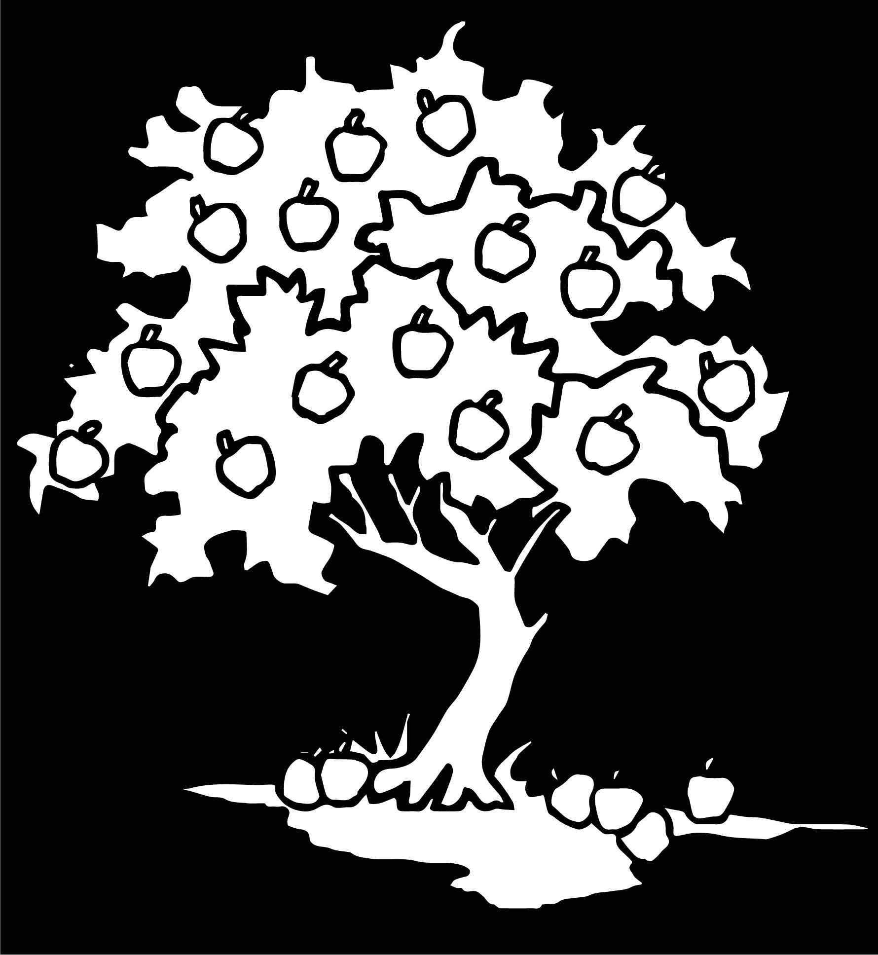 Kind Apple Tree Black Background Coloring Page