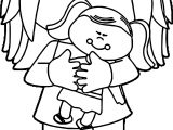 Little Girl Holding Baby Doll Coloring Page