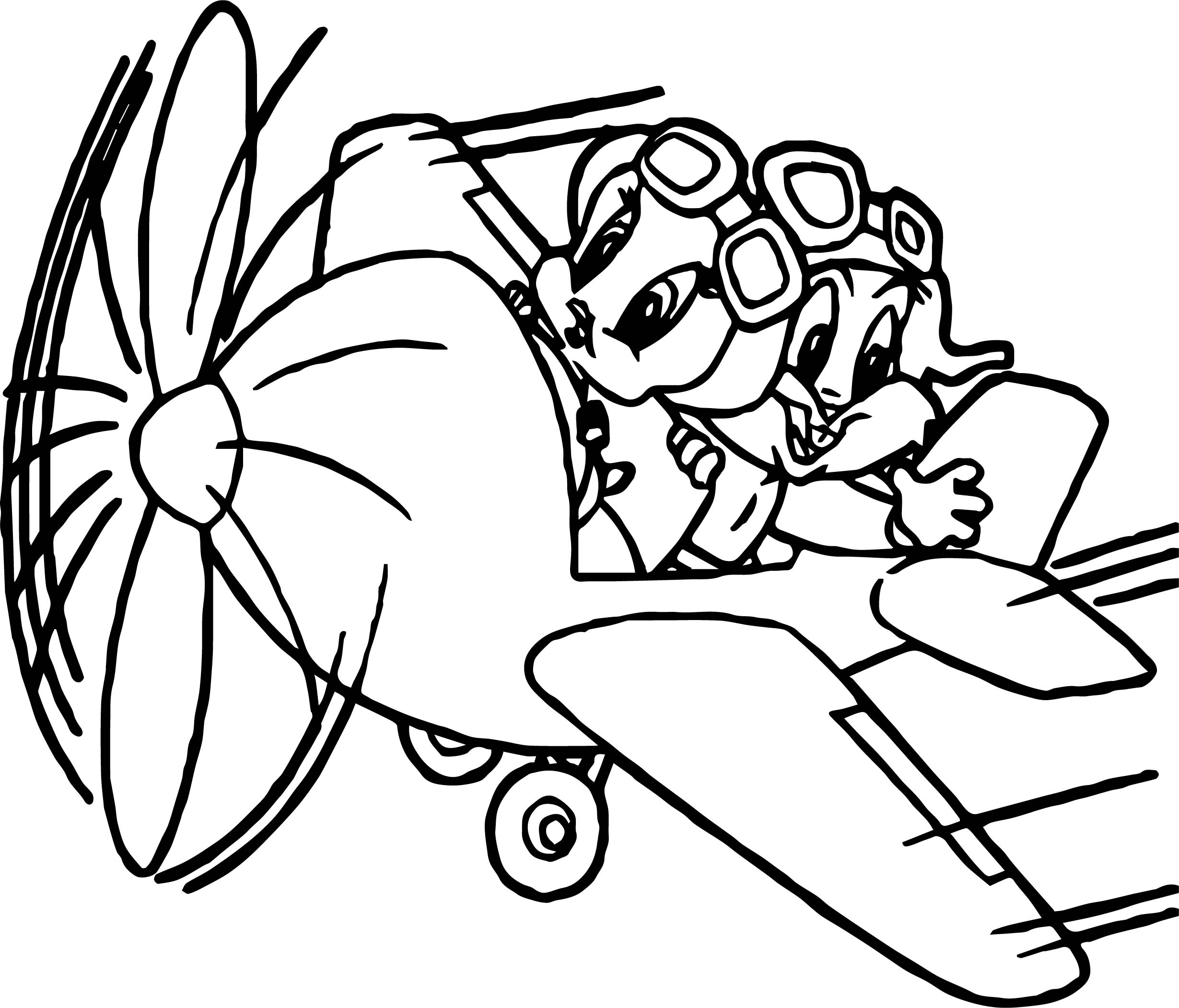 Looney Tunes Baby Twitty And Bugs Bunny Flying In Plane Coloring Page