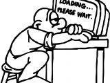 Man Computer Waiting Coloring Page