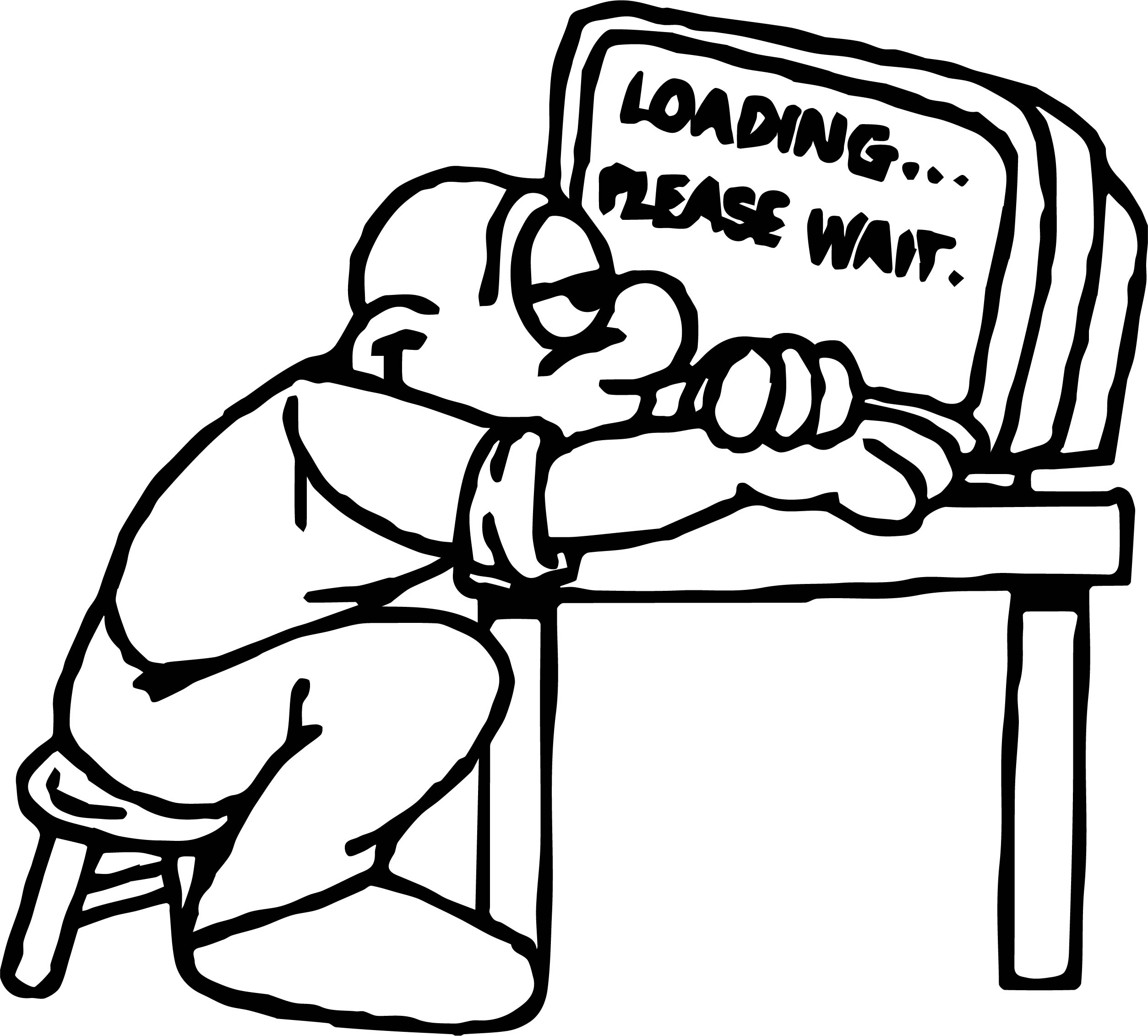 Man Computer Waiting Coloring Page