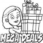 Mega Deals Cartoon Girl Coloring Page