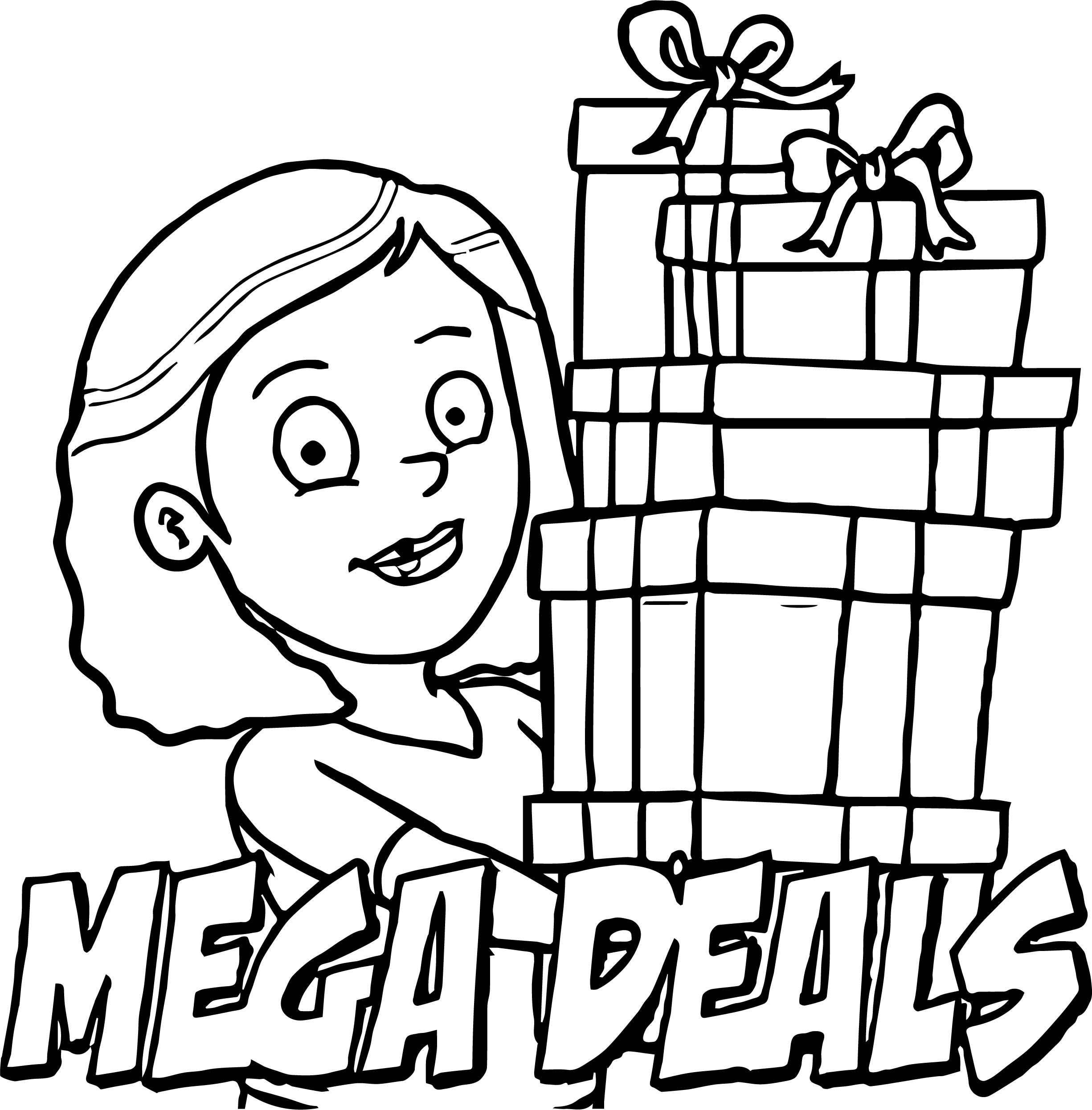 Mega Deals Cartoon Girl Coloring Page